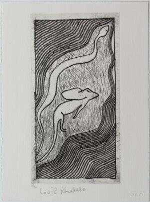 Snake & Frill Necked Lizard by Louis Karadada