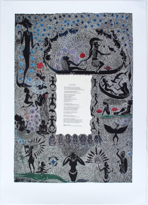 Linocut print by Dennis Nona