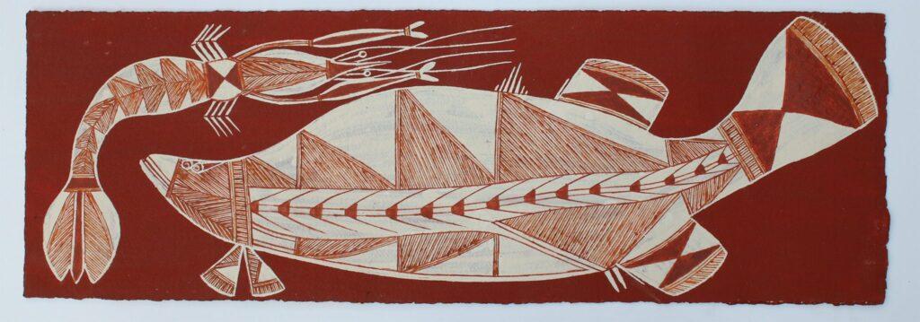 Namarnkol (Barramundi) & Wakih (Freshwater Shrimp) by Graham Badari