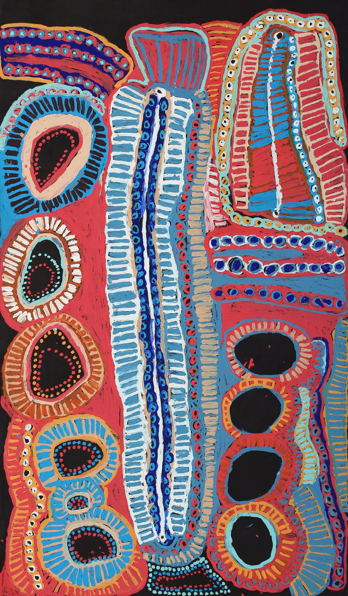 Malikijarra Jukurrpa (Two Dogs Dreaming) by Murdie Nampijinpa Morris