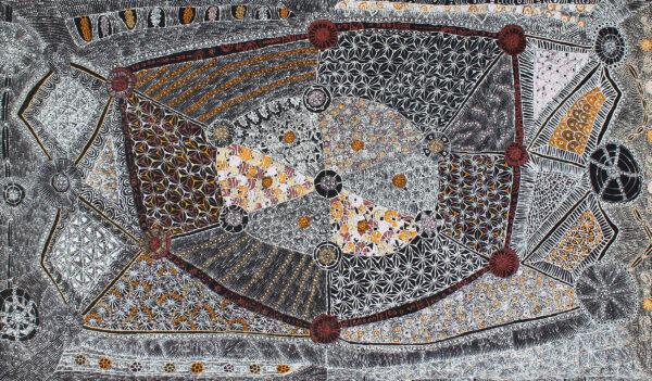 Lukarrara Jukurrpa (Desert Fringe-Rush Seed) by Hilda Nakamarra Rogers