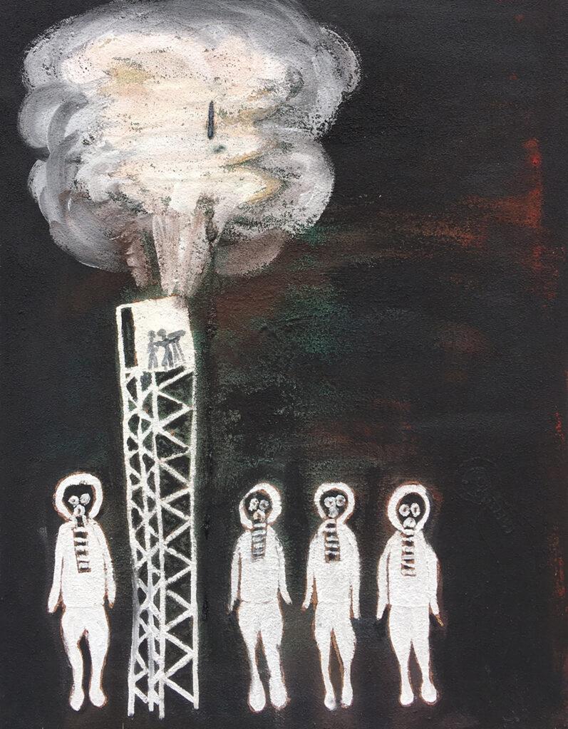 Film Tower at Maralinga with Frogmen by Jonathan Kumintjarra Brown