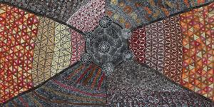Lukarara Jukurrpa (Desert Fringe Rush Seed) by Hilda Nakamarra Rogers