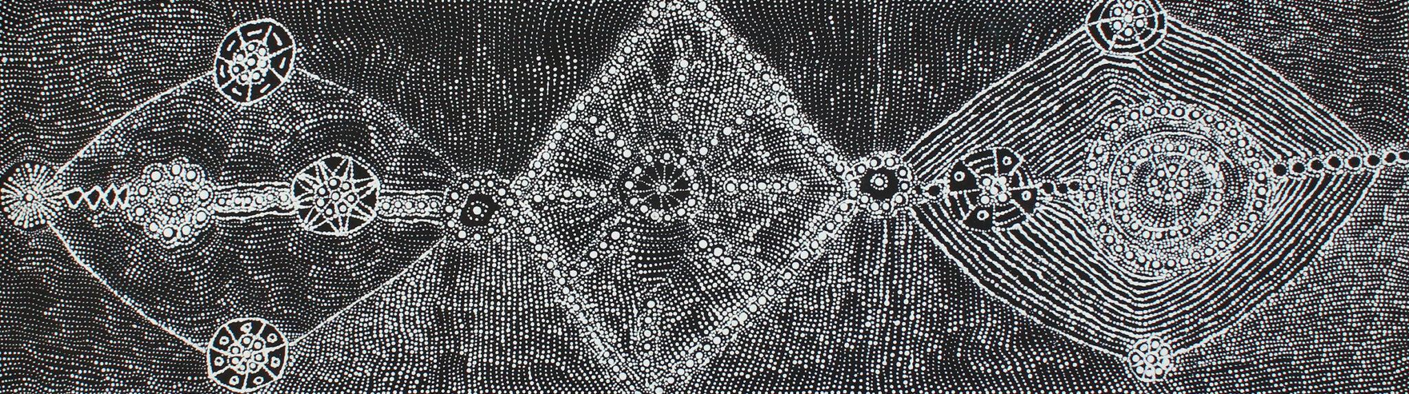 Lukarrara Jukurrpa (Desert Fringe Rush Seed) by Hilda Nakamarra Rogers