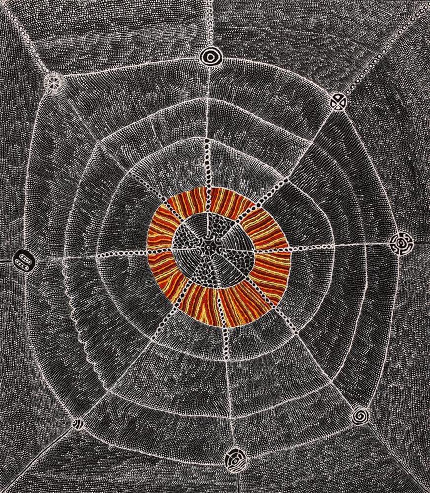 Lukarrara Jukurrpa (Desert Fringe-Rush Seed) byHilda Nakamarra Rogers