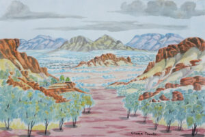 Hamilton Downs, Black Hill watercolour by Gloria Pannka