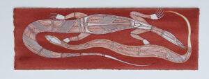 Burarr (Water goanna) & Kedjebe (File snake) by Gabriel Maralngurra