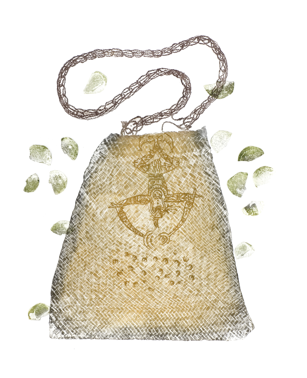 Etching of bag by Dennis Nona