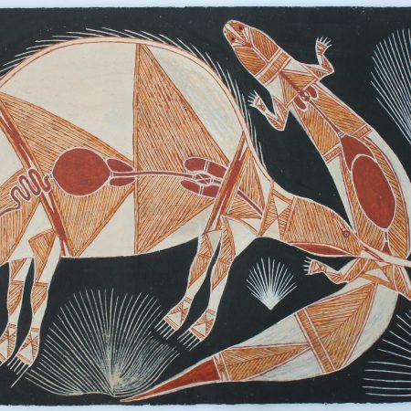 Ngarrbek (Echidna) & Kurrih (Blue Tongue Lizard) by Graham Badari